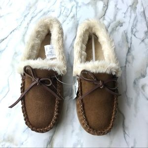 J. Crew brown suede shearling slippers size 7 M